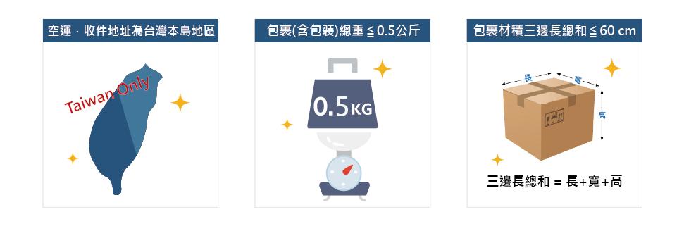 2019/05/20起 國際運費 0 元 ※小包裹:三邊總長小於60公分以下.0.5kg以下